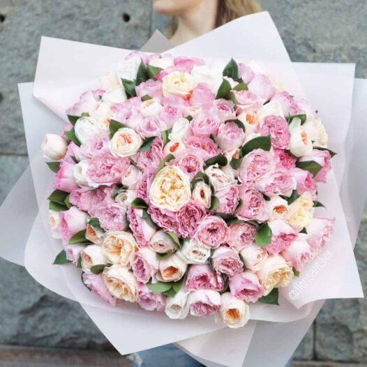 IMG 9673 526x526 - Нежный букет из садовых роз №6-008